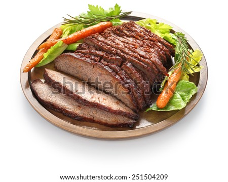 barbecue beef brisket isolated on white background - stock photo