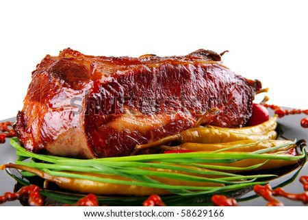 barbecue beef meat served with hot peppers - stock photo