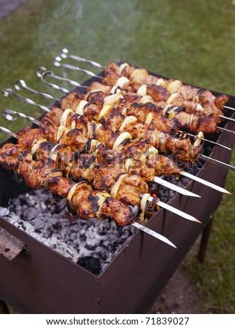 barbecue closeup - stock photo