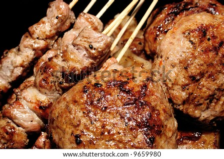 barbecue, delicious meat ready to be served - stock photo