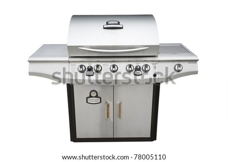 Barbecue gas grill in stainless steel, isolated with shadow and clipping path over white. - stock photo