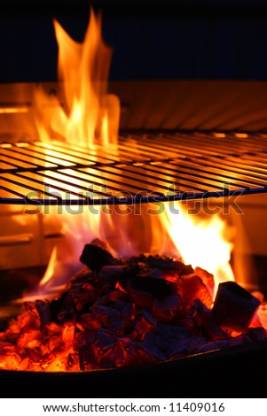 Barbecue Grill flame BBQ - stock photo
