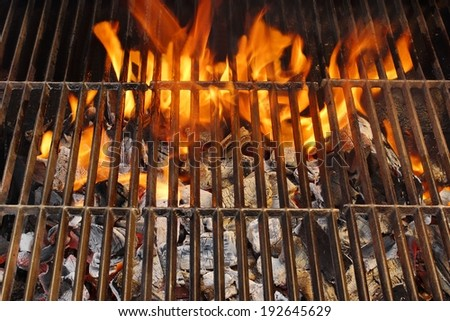 Barbecue Grill, Hot coal and Burning Flames. You can see more BBQ, Grilled food, flames and fire on my page. - stock photo