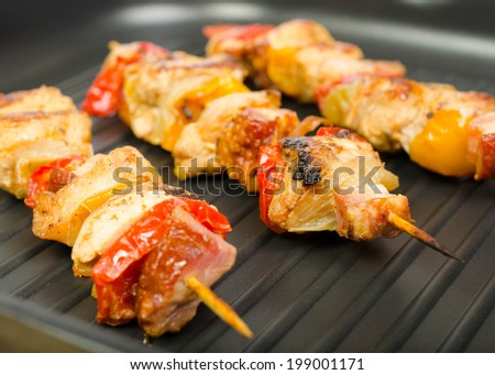 barbecue on hot electric grill  - stock photo