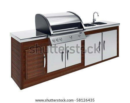 barbecue on the wooden table - stock photo