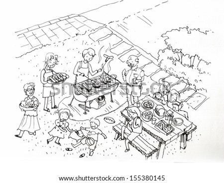 Barbecue party at the yard illustration. Family and friends barbecue party at the yard - stock photo