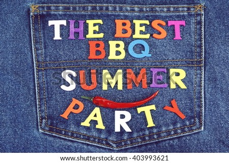 Barbecue Party Wood Sign On Blue Jeans Apron Background, Close Up, Top View
