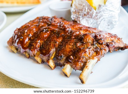 barbecue pork spareribs - stock photo