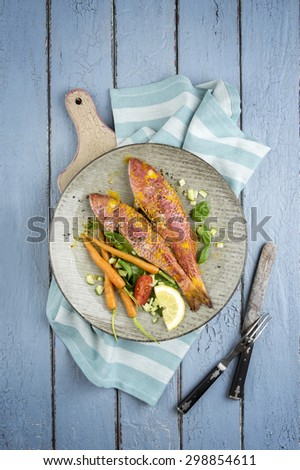 Barbecue Red Mullet on Plate - stock photo