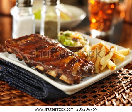 barbecue rib meal with cole slaw and french fries - stock photo