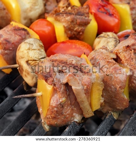 Barbecue Roasted Beef Shish Kebabs with Peppers, Tomatoes and Mushrooms On The Hot Grill - stock photo