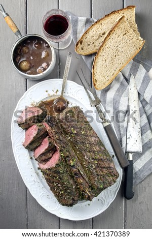 Barbecue Saddle of Vanison on Plate - stock photo