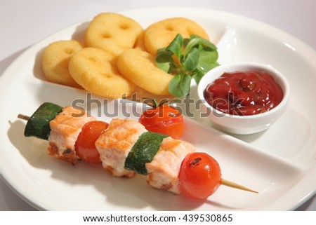 barbecue salmon and Zucchini on plate - stock photo