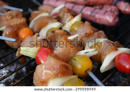 Barbecue, sausage and skewer