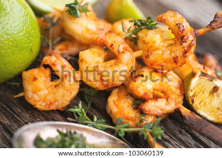 Barbecue, scampi