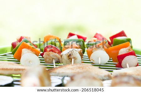 barbecue skewers and grilled vegetables - stock photo