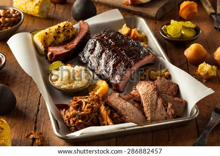 Barbecue Smoked Brisket Ribs Platter Pulled Stock Photo