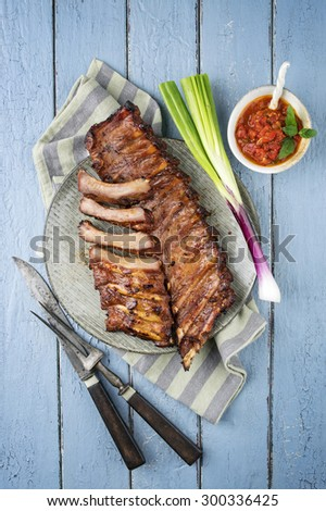 Barbecue Spare Ribs on Plate - stock photo