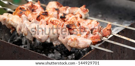 Barbecue sticks with variation of a meat