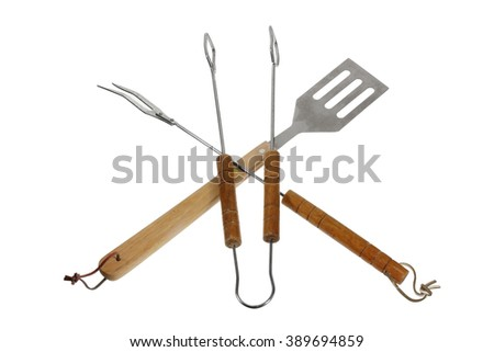 Barbecue Utensils on White Background - stock photo