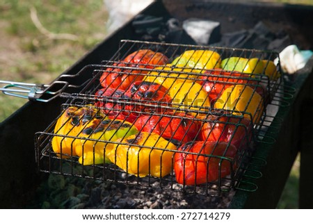 Barbecue vegetables on the grill - stock photo