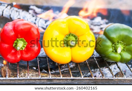 Barbecue vegetables on the grill. Healthy food (meal) on flaming hot. View  of grilling  three peppers (paprika, capsicum) on fire in the summer BBQ or picnic. Lunchtime, cookout. Outdoor. - stock photo