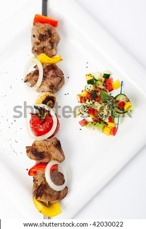 Barbecue vegetables plate - stock photo