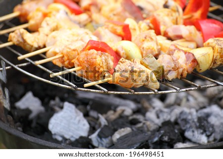 Barbecue with delicious grilled meat on grill BBQ - stock photo