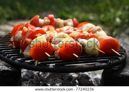 barbecue with delicious meat on grill - stock photo