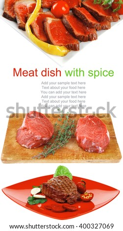 barbecued meat : beef ( lamb ) garnished with green lettuce and red chili hot pepper on red plate isolated over white background - stock photo
