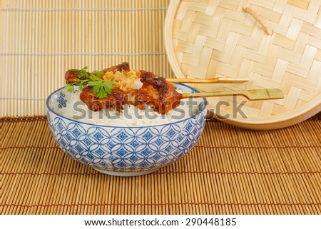 Barbecued pork satay finished with soy sauce accompanied with rice and fried onions - stock photo