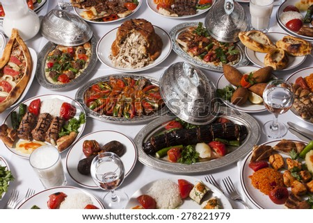 Barbecued Turkish kebabs on table  - stock photo