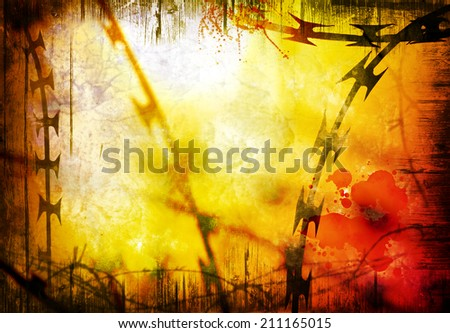 barbed and razor wire background - stock photo