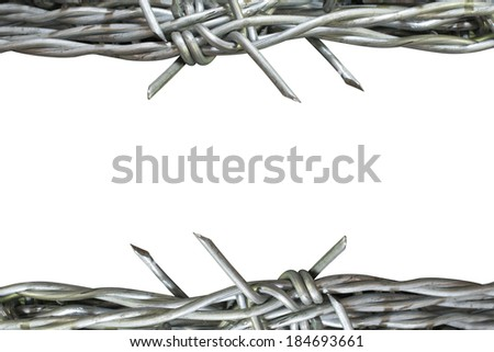 Barbed iron frame danger isolate - stock photo
