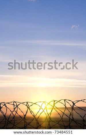 Barbed wire against the sunset - stock photo