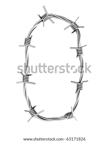Barbed wire alphabet, 0 - stock photo