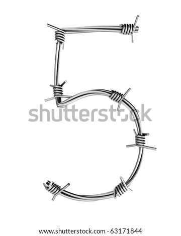 Barbed wire alphabet, 5 - stock photo