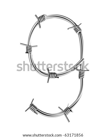Barbed wire alphabet, 9 - stock photo