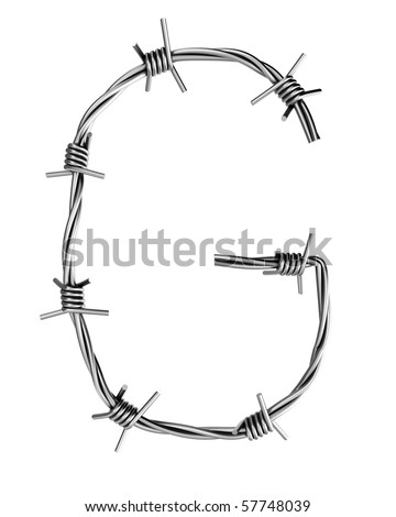Barbed wire alphabet, G - stock photo