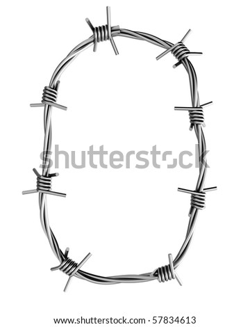 Barbed wire alphabet, O - stock photo