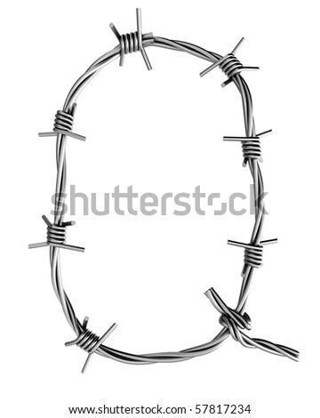 Barbed wire alphabet, Q - stock photo