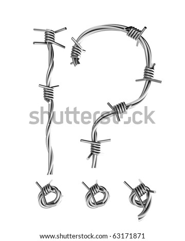 Barbed wire alphabet, question and exclamation mark - stock photo