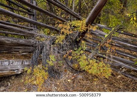 Barbed wire and livestock ramp in Okanogan county near Winthrop, Washington.