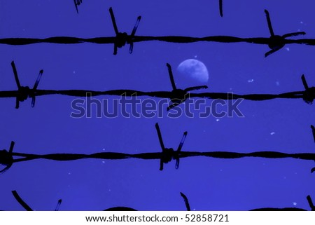 barbed wire and night - stock photo