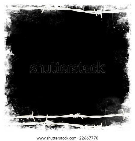 Barbed wire black square frame border with black blank middle for your own design - stock photo