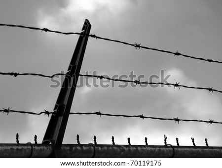 Barbed Wire Fence Against a Cloudy Sky, Desaturated - stock photo
