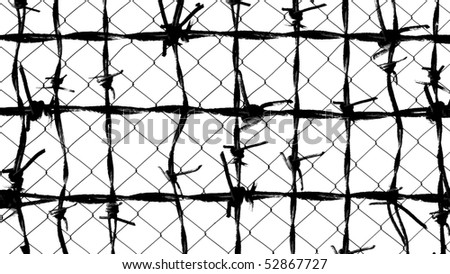 barbed wire fence for background texture - stock photo
