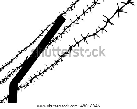 Barbed wire fence for security protection - stock photo