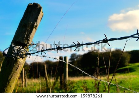 Barbed wire fence in English pasture. - stock photo