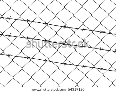 barbed wire fence isolated on white for backgrounds